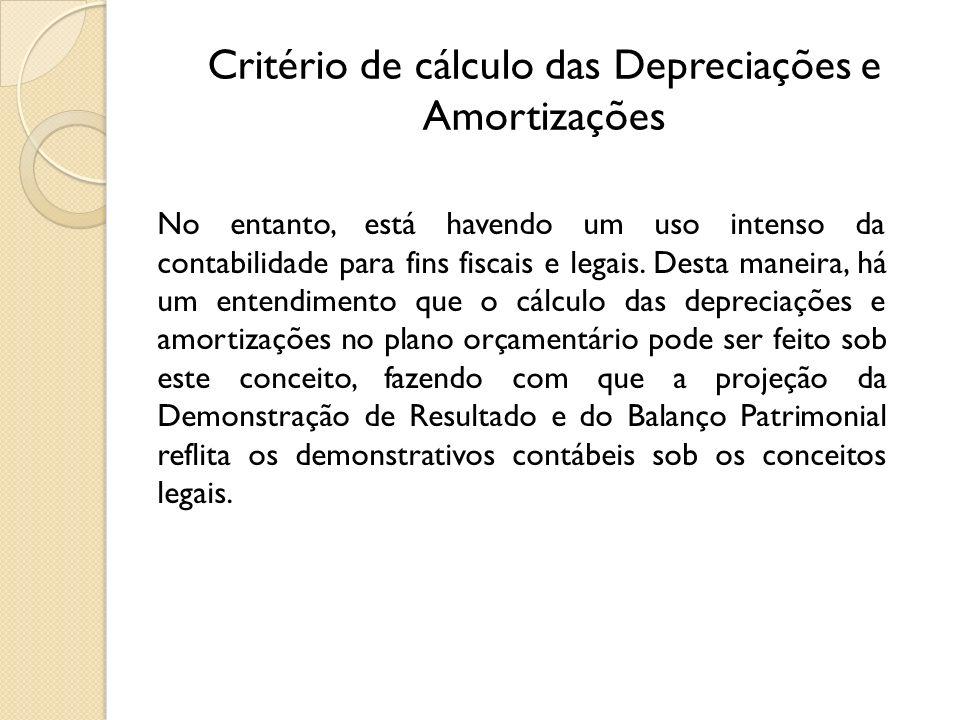 Critério de cálculo das Depreciações e Amortizações No entanto, está havendo um uso intenso da contabilidade para fins fiscais e legais. Desta maneira