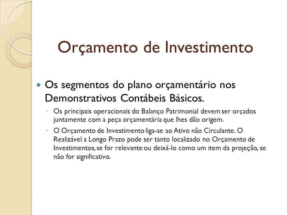 Orçamento de Investimento Os segmentos do plano orçamentário nos Demonstrativos Contábeis Básicos. Os principais operacionais do Balanço Patrimonial d
