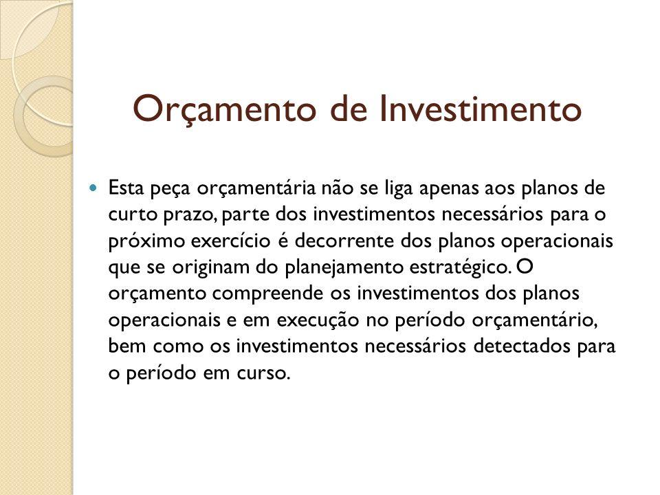 Orçamento de Investimento Esta peça orçamentária não se liga apenas aos planos de curto prazo, parte dos investimentos necessários para o próximo exer