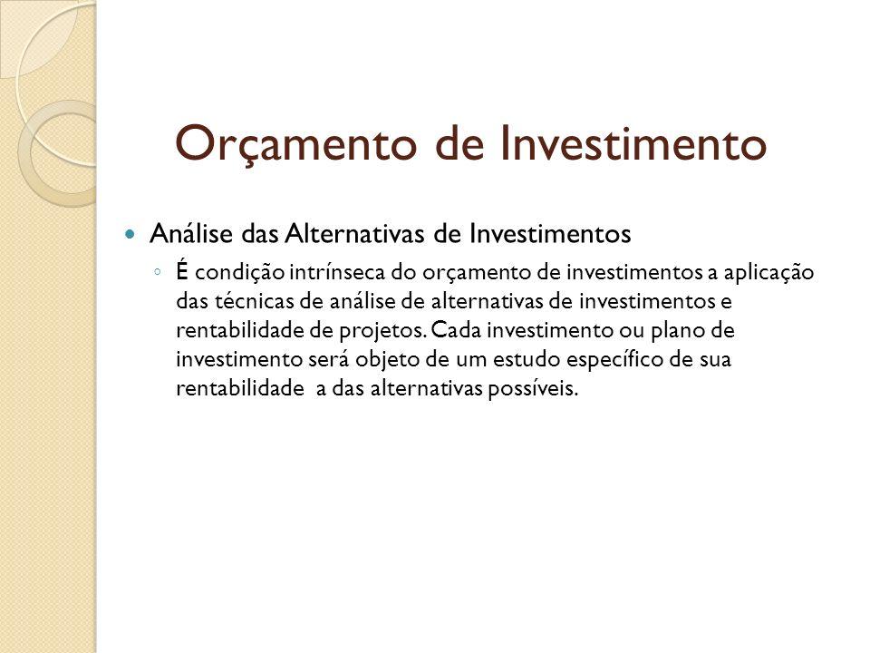 Orçamento de Investimento Análise das Alternativas de Investimentos É condição intrínseca do orçamento de investimentos a aplicação das técnicas de an