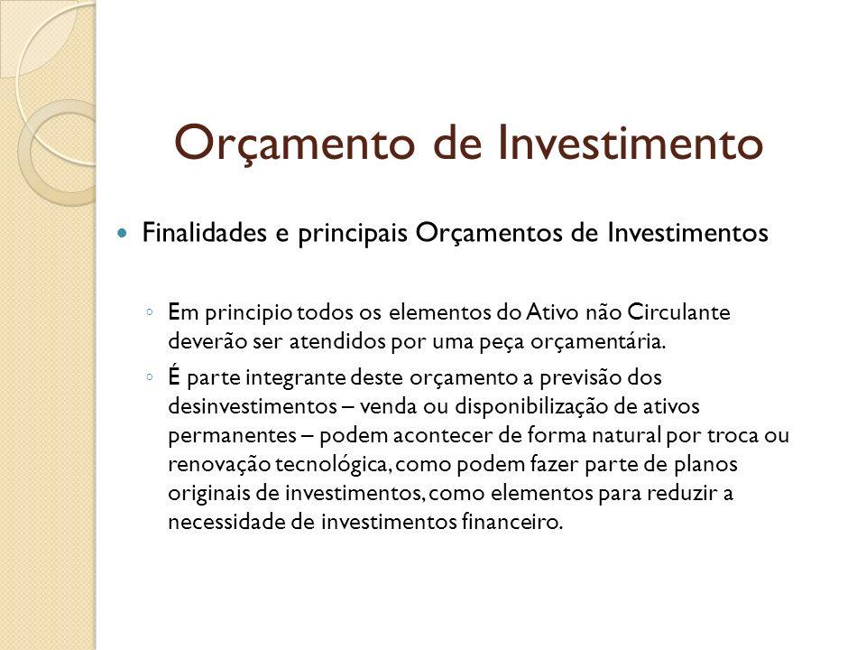 Orçamento de Investimento Finalidades e principais Orçamentos de Investimentos Em principio todos os elementos do Ativo não Circulante deverão ser ate
