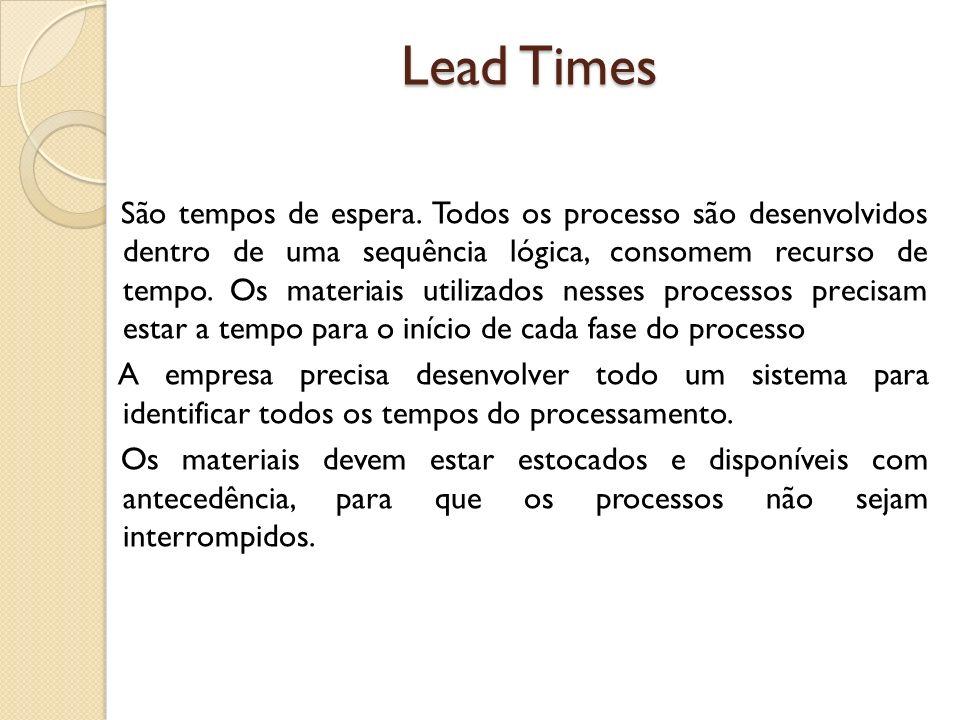 Lead Times São tempos de espera. Todos os processo são desenvolvidos dentro de uma sequência lógica, consomem recurso de tempo. Os materiais utilizado