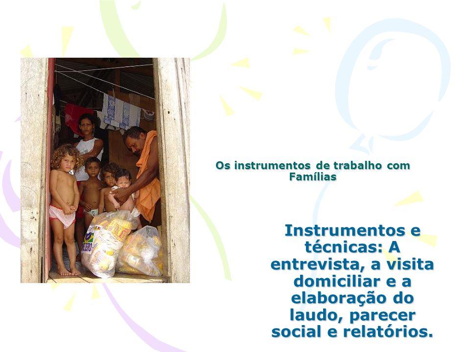 Os instrumentos de trabalho com Famílias Instrumentos e técnicas: A entrevista, a visita domiciliar e a elaboração do laudo, parecer social e relatóri