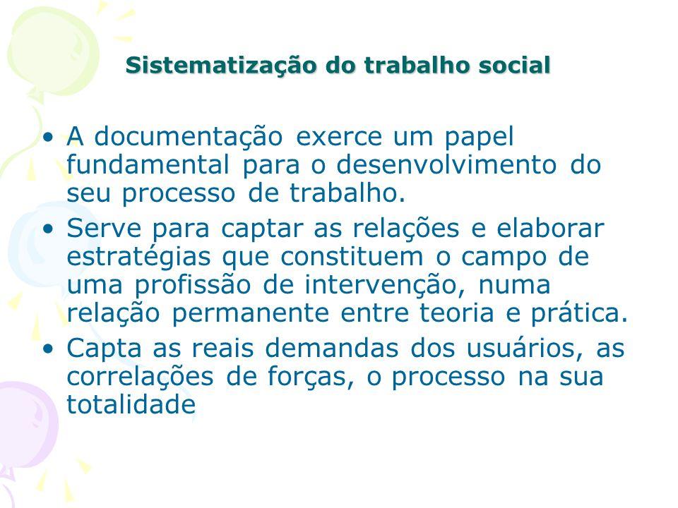 Sistematização do trabalho social A documentação exerce um papel fundamental para o desenvolvimento do seu processo de trabalho. Serve para captar as