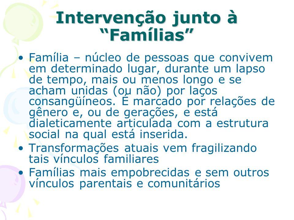 Intervenção junto à Famílias Família – núcleo de pessoas que convivem em determinado lugar, durante um lapso de tempo, mais ou menos longo e se acham