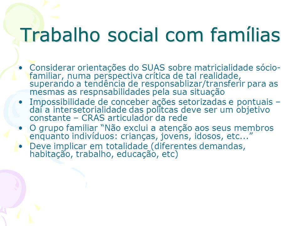 Trabalho social com famílias Considerar orientações do SUAS sobre matricialidade sócio- familiar, numa perspectiva crítica de tal realidade, superando