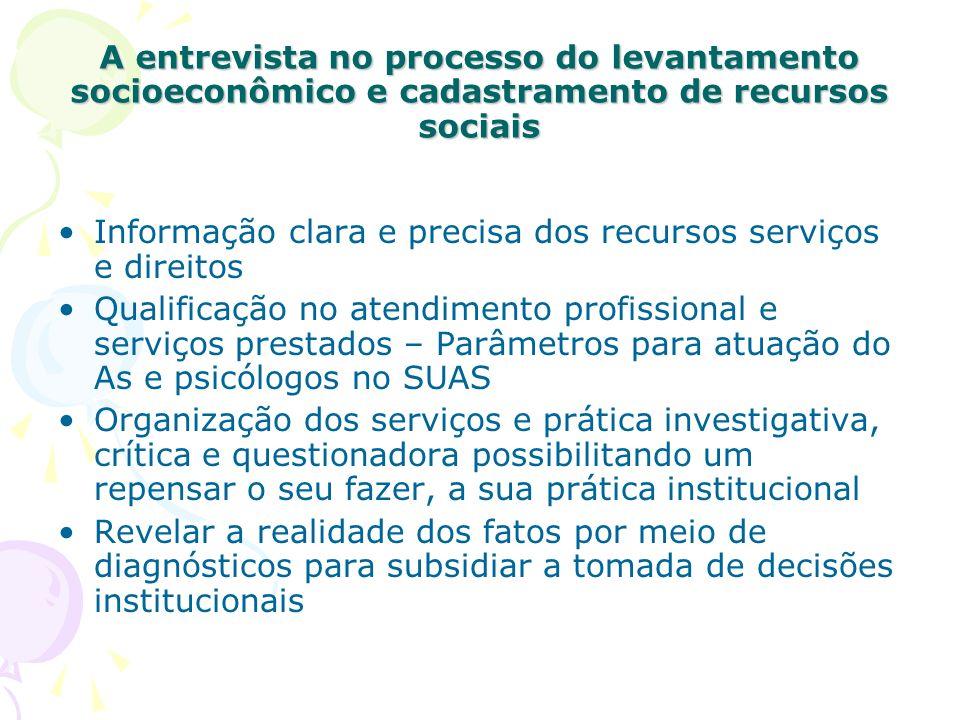 A entrevista no processo do levantamento socioeconômico e cadastramento de recursos sociais Informação clara e precisa dos recursos serviços e direito