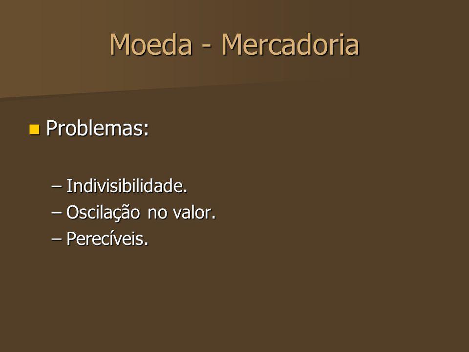 Moeda - Mercadoria Problemas: Problemas: –Indivisibilidade. –Oscilação no valor. –Perecíveis.