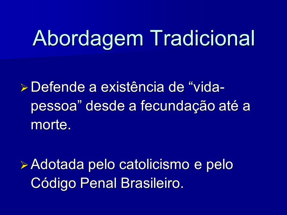 Abordagem Tradicional Defende a existência de vida- pessoa desde a fecundação até a morte. Defende a existência de vida- pessoa desde a fecundação até