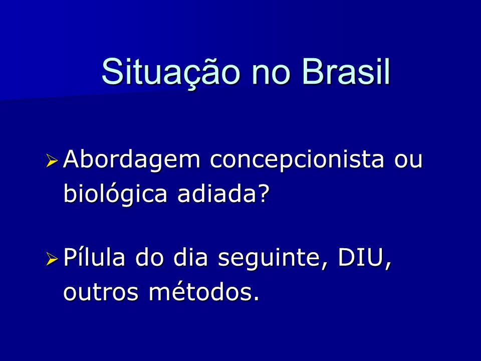 Situação no Brasil Abordagem concepcionista ou biológica adiada? Abordagem concepcionista ou biológica adiada? Pílula do dia seguinte, DIU, outros mét