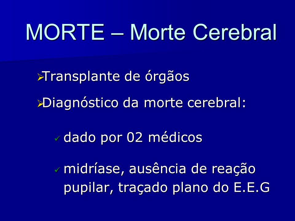 MORTE – Morte Cerebral Transplante de órgãos Transplante de órgãos Diagnóstico da morte cerebral: Diagnóstico da morte cerebral: dado por 02 médicos d