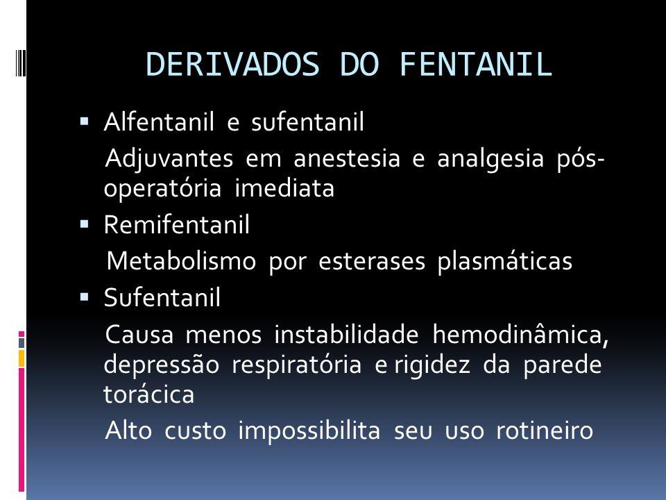 DERIVADOS DO FENTANIL Alfentanil e sufentanil Adjuvantes em anestesia e analgesia pós- operatória imediata Remifentanil Metabolismo por esterases plas