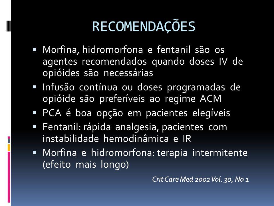 RECOMENDAÇÕES Morfina, hidromorfona e fentanil são os agentes recomendados quando doses IV de opióides são necessárias Infusão contínua ou doses progr