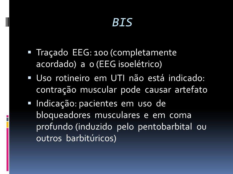 BIS Traçado EEG: 100 (completamente acordado) a 0 (EEG isoelétrico) Uso rotineiro em UTI não está indicado: contração muscular pode causar artefato In