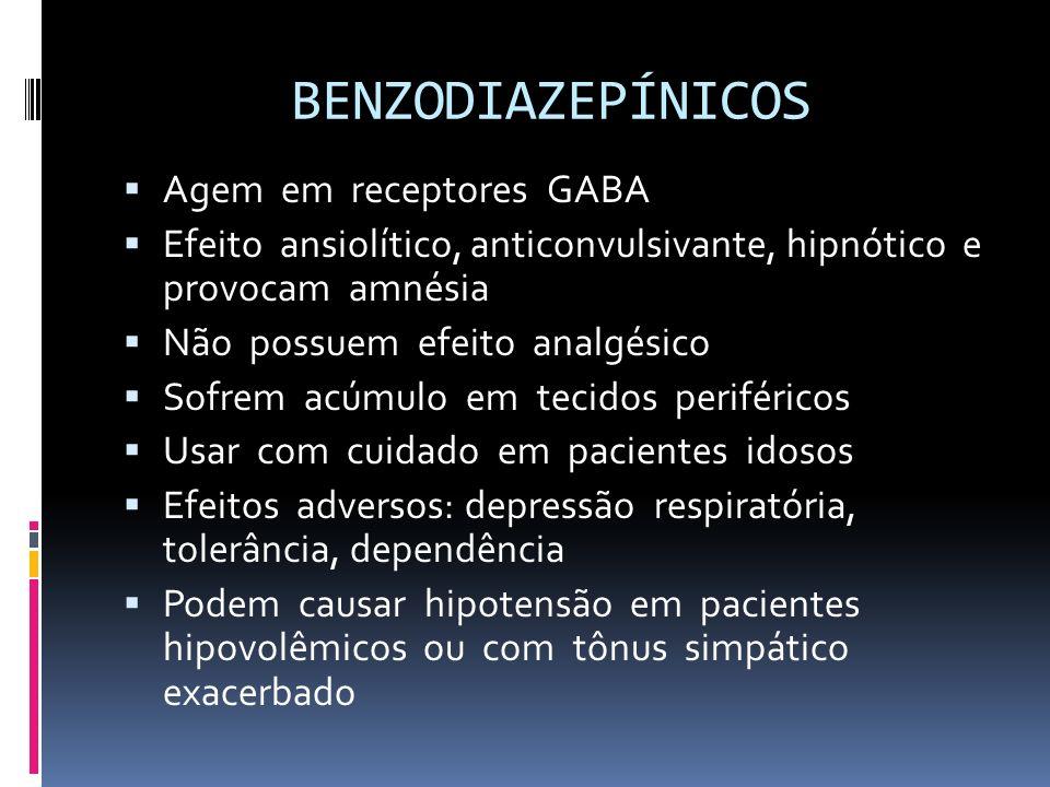 BENZODIAZEPÍNICOS Agem em receptores GABA Efeito ansiolítico, anticonvulsivante, hipnótico e provocam amnésia Não possuem efeito analgésico Sofrem acú