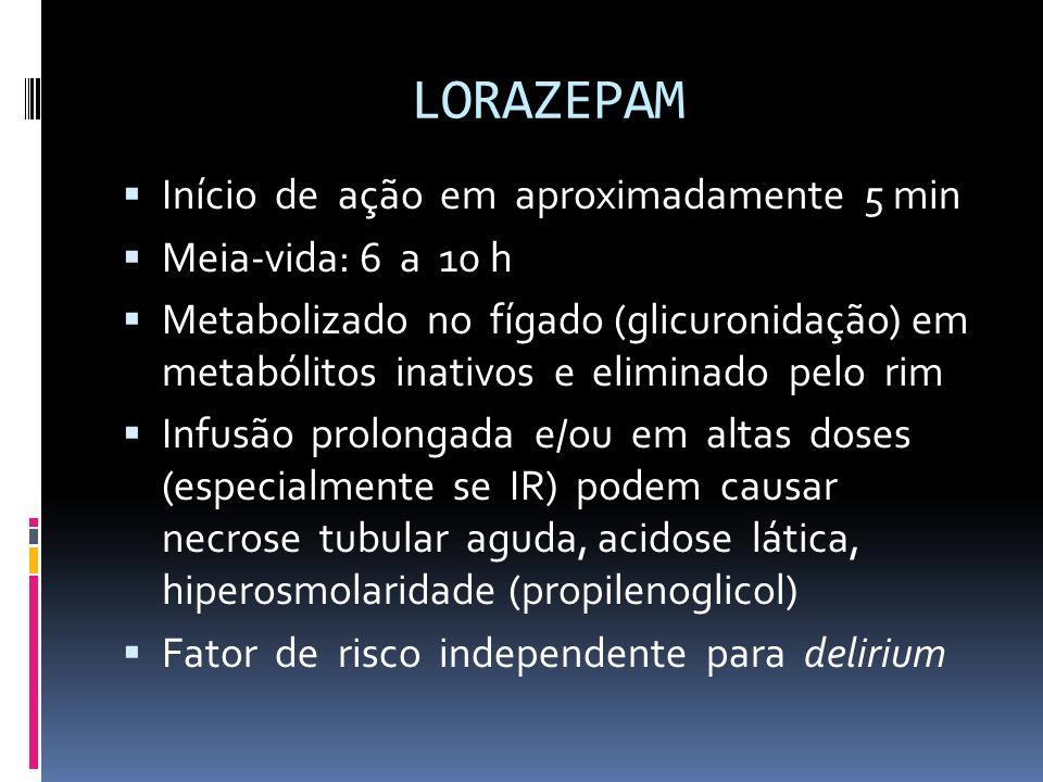 LORAZEPAM Início de ação em aproximadamente 5 min Meia-vida: 6 a 10 h Metabolizado no fígado (glicuronidação) em metabólitos inativos e eliminado pelo
