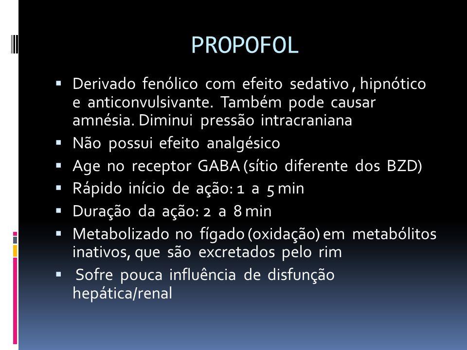 PROPOFOL Derivado fenólico com efeito sedativo, hipnótico e anticonvulsivante. Também pode causar amnésia. Diminui pressão intracraniana Não possui ef
