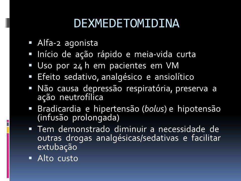 DEXMEDETOMIDINA Alfa-2 agonista Início de ação rápido e meia-vida curta Uso por 24 h em pacientes em VM Efeito sedativo, analgésico e ansiolítico Não
