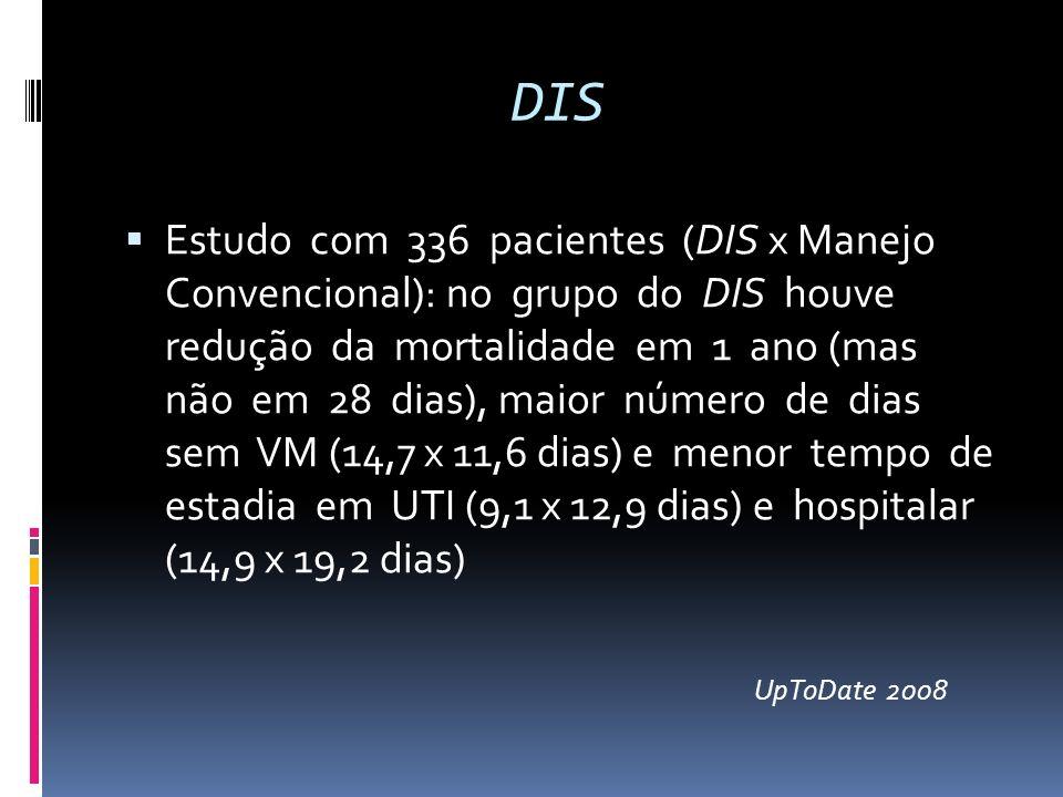DIS Estudo com 336 pacientes (DIS x Manejo Convencional): no grupo do DIS houve redução da mortalidade em 1 ano (mas não em 28 dias), maior número de