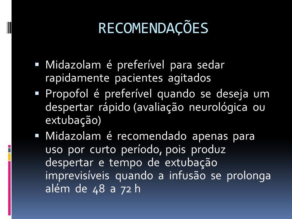 RECOMENDAÇÕES Midazolam é preferível para sedar rapidamente pacientes agitados Propofol é preferível quando se deseja um despertar rápido (avaliação n