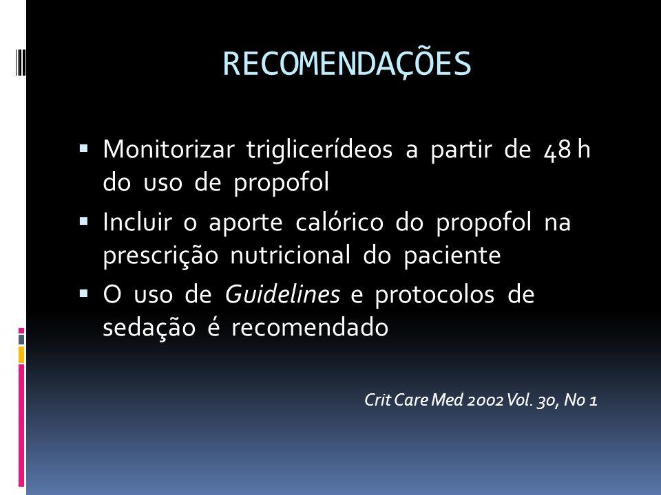 RECOMENDAÇÕES Monitorizar triglicerídeos a partir de 48 h do uso de propofol Incluir o aporte calórico do propofol na prescrição nutricional do pacien