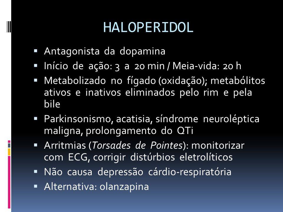 HALOPERIDOL Antagonista da dopamina Início de ação: 3 a 20 min / Meia-vida: 20 h Metabolizado no fígado (oxidação); metabólitos ativos e inativos elim
