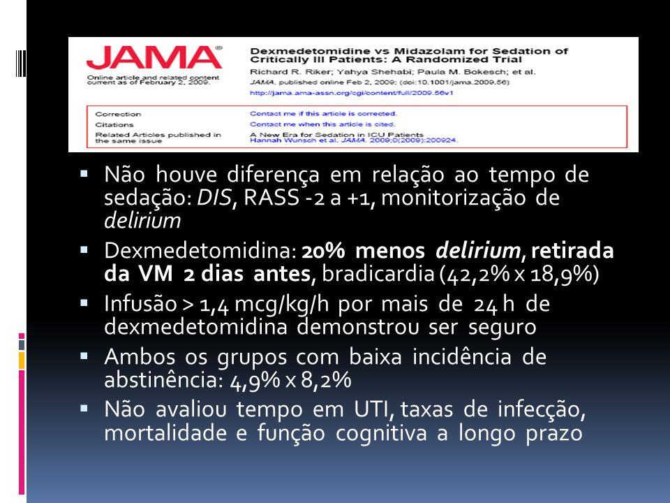 Não houve diferença em relação ao tempo de sedação: DIS, RASS -2 a +1, monitorização de delirium Dexmedetomidina: 20% menos delirium, retirada da VM 2