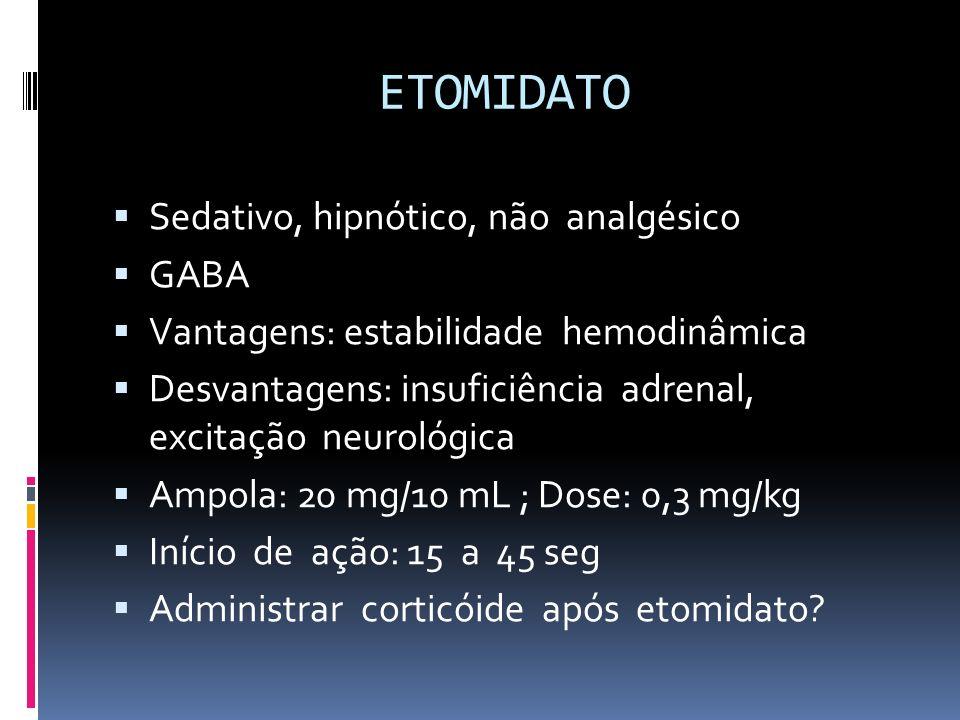 ETOMIDATO Sedativo, hipnótico, não analgésico GABA Vantagens: estabilidade hemodinâmica Desvantagens: insuficiência adrenal, excitação neurológica Amp