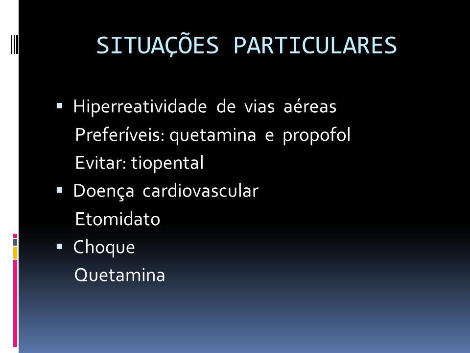 SITUAÇÕES PARTICULARES Hiperreatividade de vias aéreas Preferíveis: quetamina e propofol Evitar: tiopental Doença cardiovascular Etomidato Choque Quet