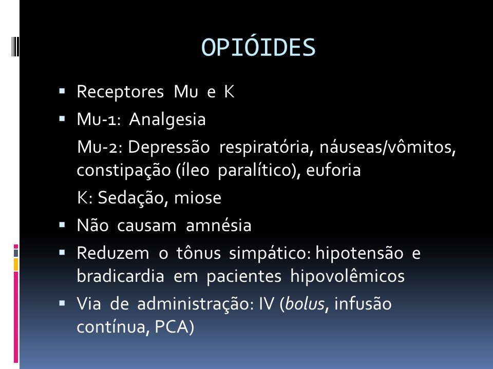 PROPOFOL Usar com cuidado em idosos Efeitos adversos (uso por mais de 48 h): depressão respiratória, bradicardia, hipotensão, hipertrigliceridemia, pancreatite, dor (infusão periférica), mioclonias Síndrome de infusão do propofol: ICC, bradicardia, acidose metabólica, hipercalemia, rabdomiólise, hiperlipidemia, esteatose hepática Administrar em via venosa central específica: interação com outras drogas, infecção Solução calórica: 1,1 kcal/mL