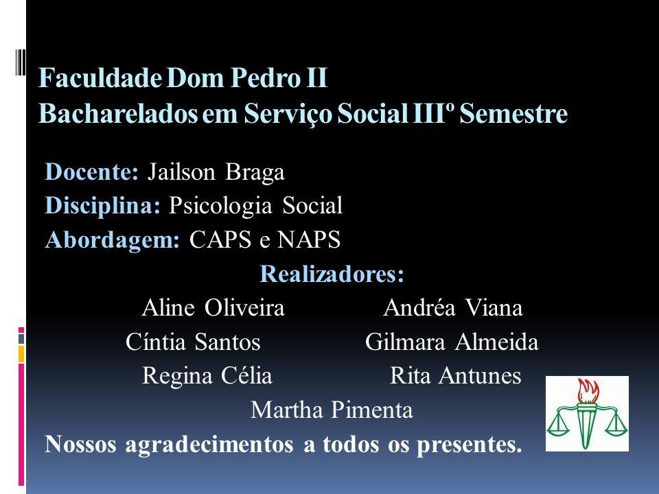 Faculdade Dom Pedro II Bacharelados em Serviço Social IIIº Semestre Docente: Jailson Braga Disciplina: Psicologia Social Abordagem: CAPS e NAPS Realiz