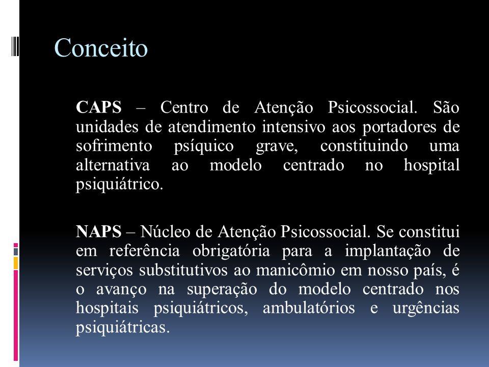 Conceito CAPS – Centro de Atenção Psicossocial. São unidades de atendimento intensivo aos portadores de sofrimento psíquico grave, constituindo uma al