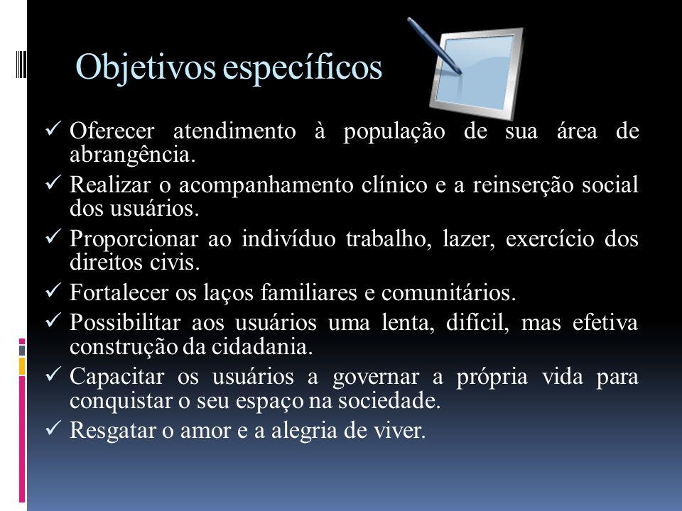 Objetivos específicos Oferecer atendimento à população de sua área de abrangência. Realizar o acompanhamento clínico e a reinserção social dos usuário