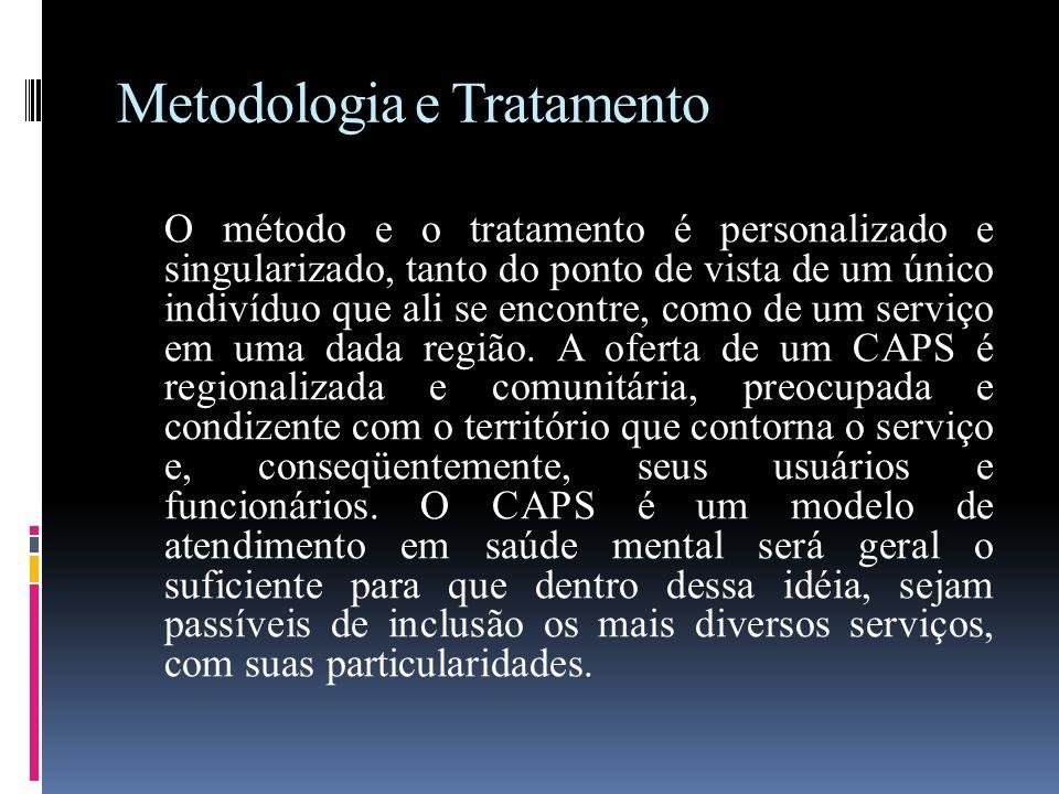 Metodologia e Tratamento O método e o tratamento é personalizado e singularizado, tanto do ponto de vista de um único indivíduo que ali se encontre, c