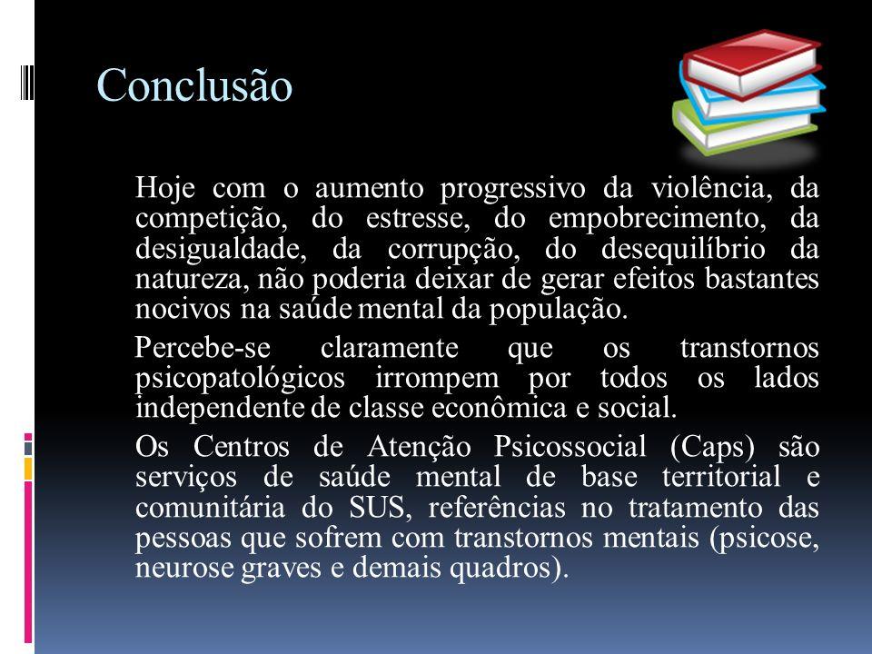 Conclusão Hoje com o aumento progressivo da violência, da competição, do estresse, do empobrecimento, da desigualdade, da corrupção, do desequilíbrio