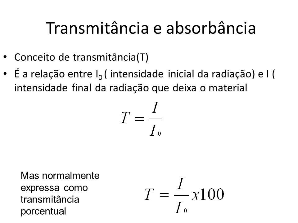 Transmitância e absorbância Conceito de transmitância(T) É a relação entre I 0 ( intensidade inicial da radiação) e I ( intensidade final da radiação