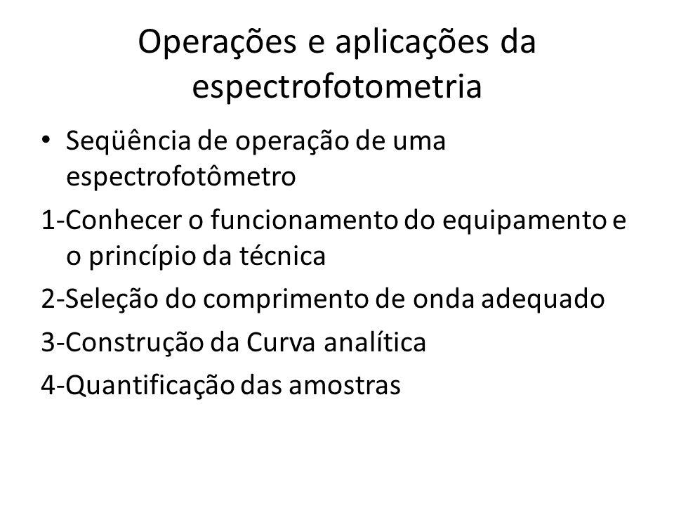 Operações e aplicações da espectrofotometria Seqüência de operação de uma espectrofotômetro 1-Conhecer o funcionamento do equipamento e o princípio da
