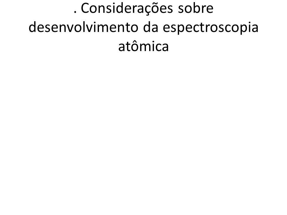 . Considerações sobre desenvolvimento da espectroscopia atômica