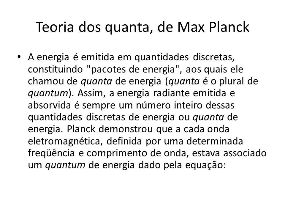 Teoria dos quanta, de Max Planck A energia é emitida em quantidades discretas, constituindo