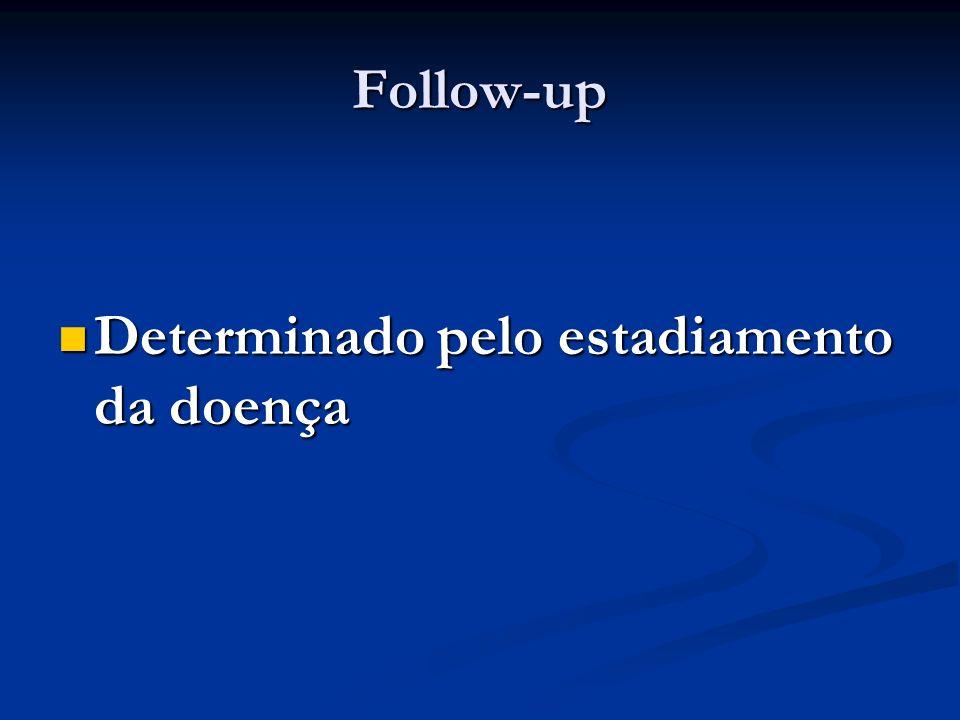 Follow-up Determinado pelo estadiamento da doença Determinado pelo estadiamento da doença