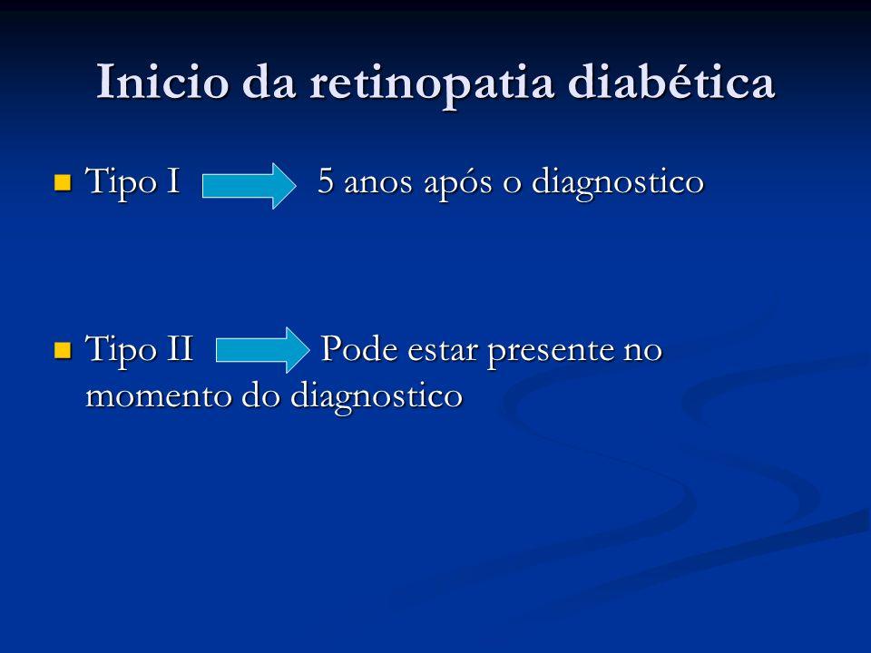 Inicio da retinopatia diabética Tipo I 5 anos após o diagnostico Tipo I 5 anos após o diagnostico Tipo II Pode estar presente no momento do diagnostic