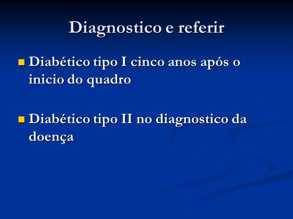 Diagnostico e referir Diabético tipo I cinco anos após o inicio do quadro Diabético tipo I cinco anos após o inicio do quadro Diabético tipo II no dia