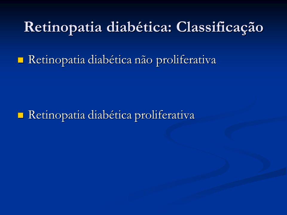 Retinopatia diabética: Classificação Retinopatia diabética não proliferativa Retinopatia diabética não proliferativa Retinopatia diabética proliferati