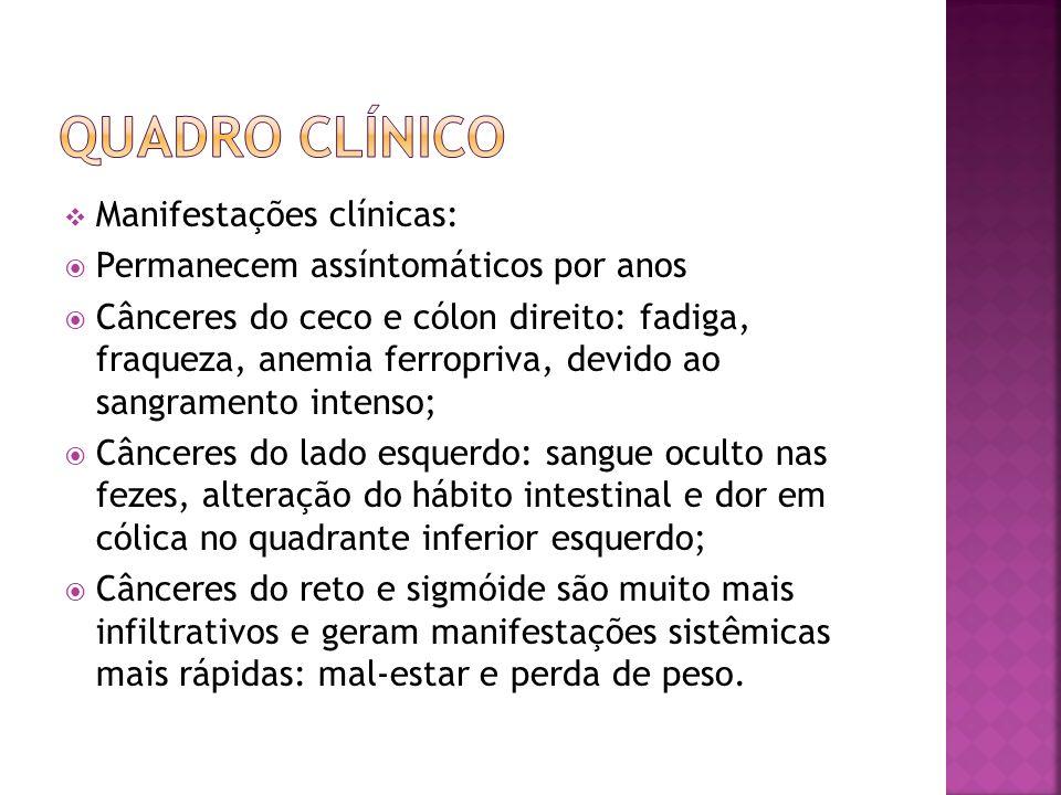 Manifestações clínicas: Permanecem assíntomáticos por anos Cânceres do ceco e cólon direito: fadiga, fraqueza, anemia ferropriva, devido ao sangrament