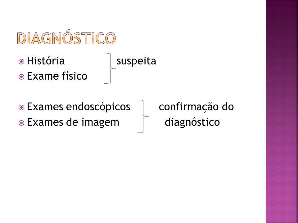 História suspeita Exame físico Exames endoscópicos confirmação do Exames de imagem diagnóstico