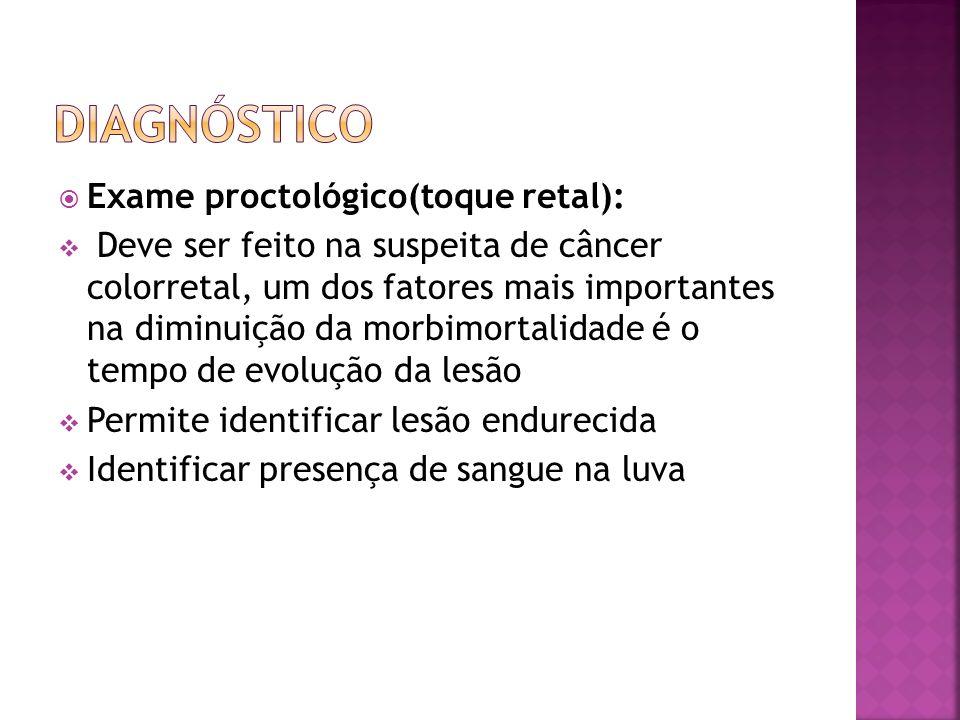 Exame proctológico(toque retal): Deve ser feito na suspeita de câncer colorretal, um dos fatores mais importantes na diminuição da morbimortalidade é