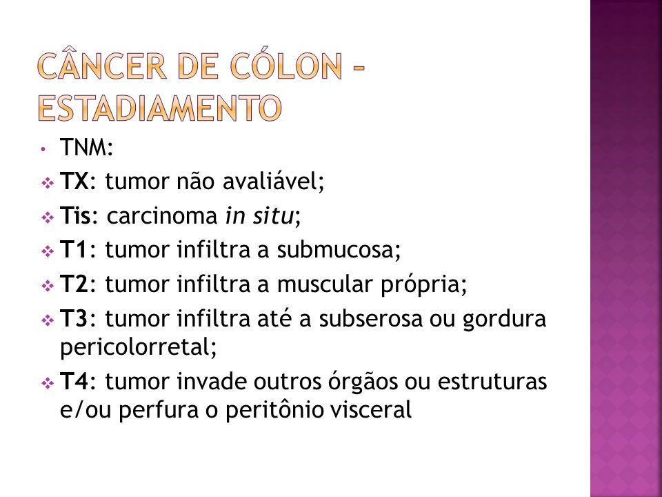 TNM: TX: tumor não avaliável; Tis: carcinoma in situ; T1: tumor infiltra a submucosa; T2: tumor infiltra a muscular própria; T3: tumor infiltra até a