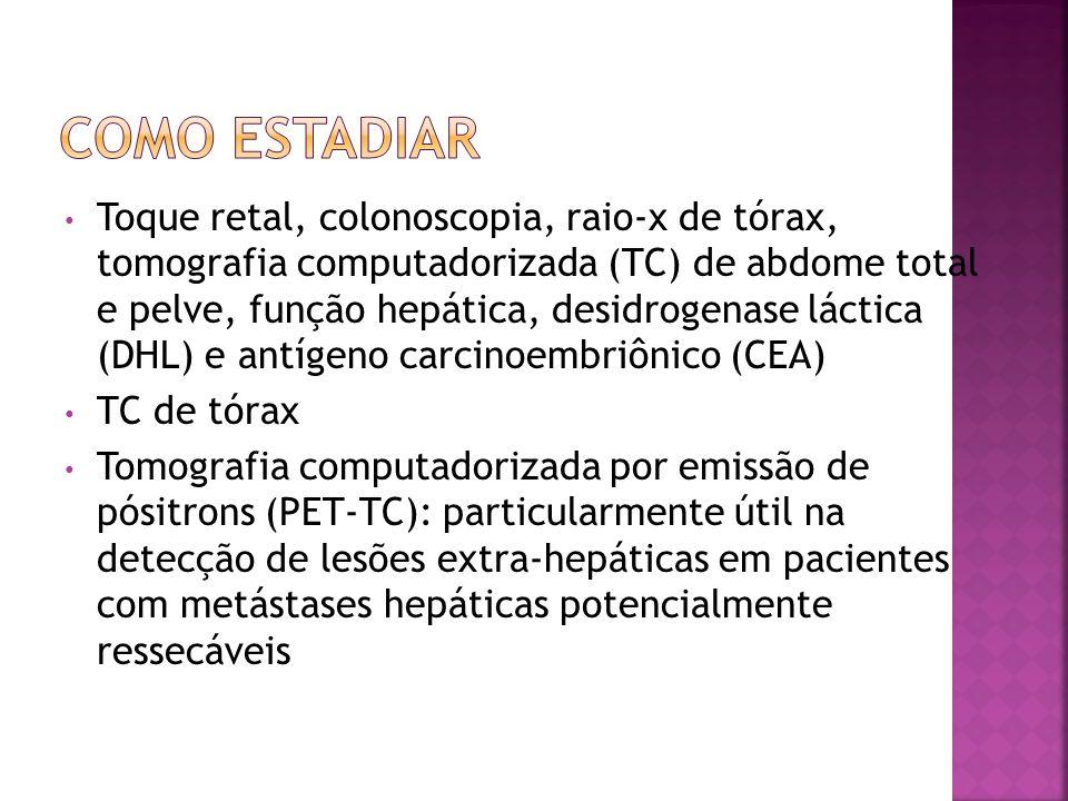 Toque retal, colonoscopia, raio-x de tórax, tomografia computadorizada (TC) de abdome total e pelve, função hepática, desidrogenase láctica (DHL) e an
