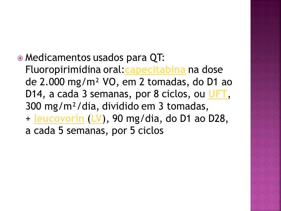Medicamentos usados para QT: Fluoropirimidina oral:capecitabina na dose de 2.000 mg/m² VO, em 2 tomadas, do D1 ao D14, a cada 3 semanas, por 8 ciclos,