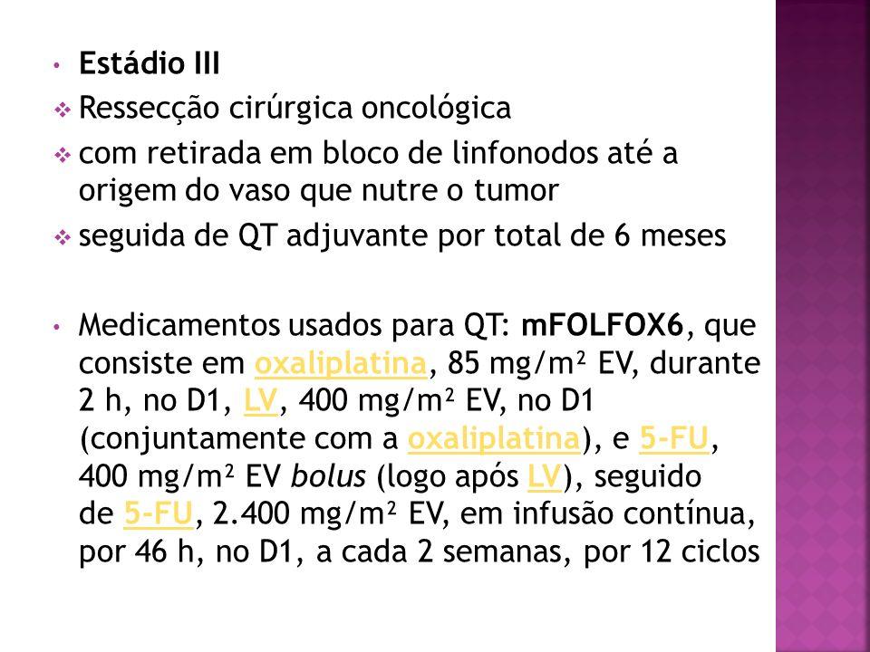 Estádio III Ressecção cirúrgica oncológica com retirada em bloco de linfonodos até a origem do vaso que nutre o tumor seguida de QT adjuvante por tota